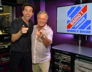 Tony Blackburn and Nick Grimshaw in the Radio 1 Breakfast studio in NBH on Thursday 22 June 2017. Photo by Mark Allan